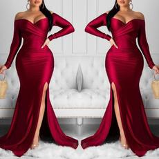 highslit, Fashion, Long Sleeve, Evening Dress