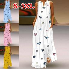 butterfly, Sleeveless dress, Plus Size, long dress