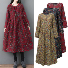 Fashion, midcalfdres, Long Sleeve, plus size dress