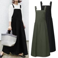 sleeveless, dungaree, long dress, plus size dress