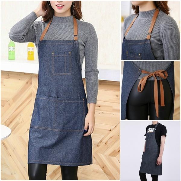 Adults Denim Blue Cooking Kitchen Restaurant Work Bib Apron Dress with Pocket~ZT