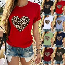Plus size top, leopard print, summer t-shirts, Leopard