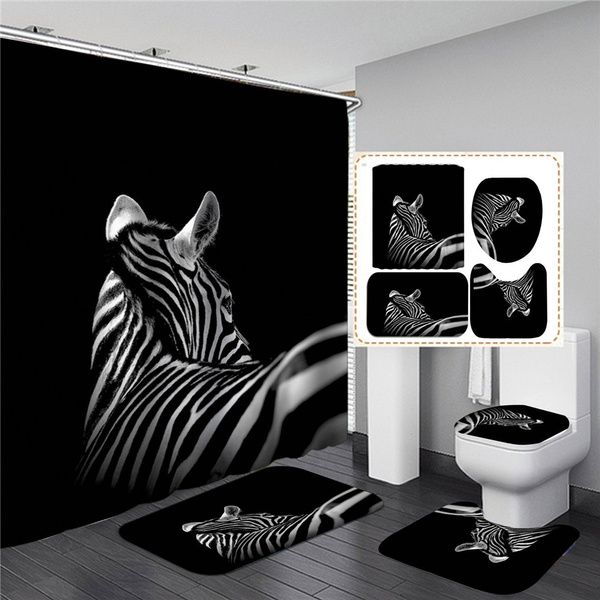 The Black And White Zebra Bathroom Shower Curtain Hd Print 4 Pcs Set 1 Shower Curtain Anti Skid Absorbent Toilet Seat Cover Bath Mat Lid Cover 3pcs Set Rugs Wish