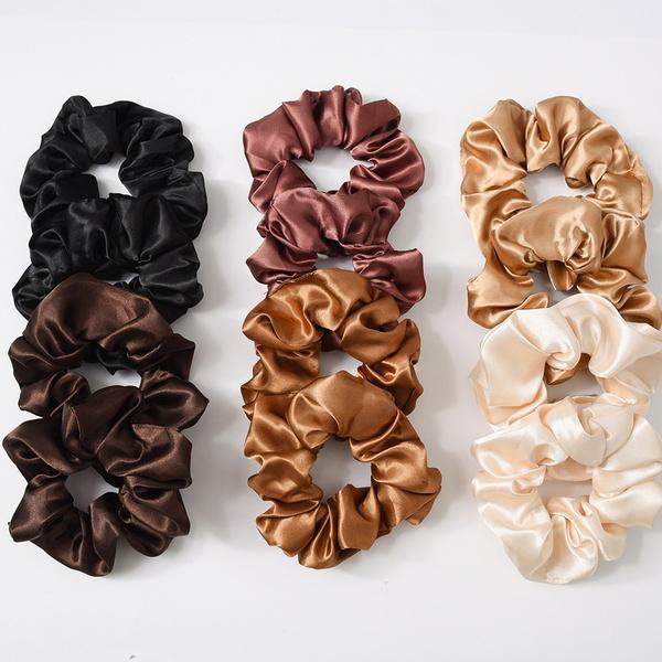 Women Satin Silk Hair Tie Elastic Scrunchies Ponytail Rings Rope Holder Hai Y8L8