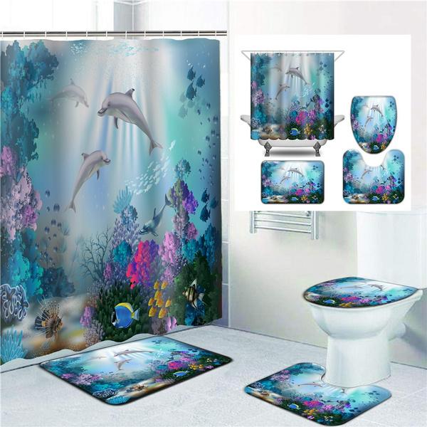 Bathroom Decoration Blue Ocean, Fish Bathroom Sets