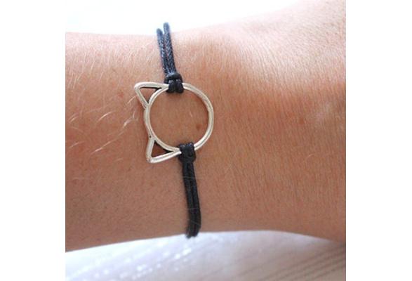 Cat charm wish bracelet waxed cord cat lover jewelry