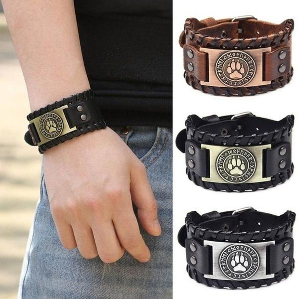nordicrunesbracelet, leather strap, Jewelry, gift for boyfriend