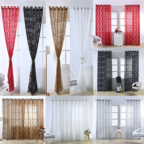 Decor, translucentcurtain, leavespatterncurtain, vine