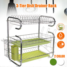 Steel, Kitchen & Dining, 3tierdishrack, multifunctionalshelf