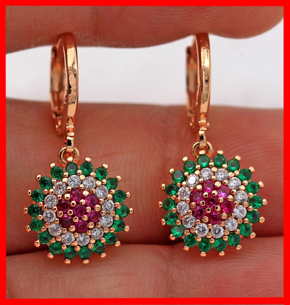 gemstone jewelry, Emerald, topazearring, Cocktail