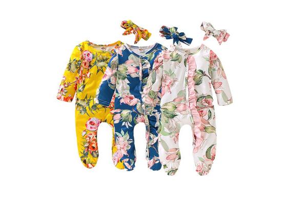 Fyhuzp Newborn Baby Girls Romper Floral Print Buttons Ruffles Romper Bodysuit Jumpsuit Outfits