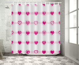 Shower, Bathroom, showercurtains72x72in, linerwith1216curtainhooksclear