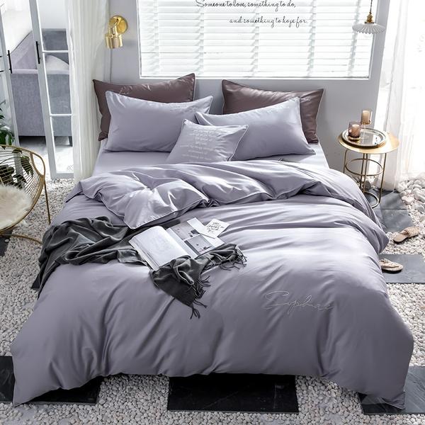 Light Purple Pure Color 4pieces Bedding, Light Purple Queen Bed Set