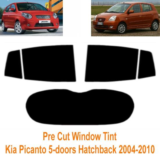 20/% Dark Smoke Pre cut window tint 2004 to 2010 Kia Picanto 5-door Hatchback Rear windows