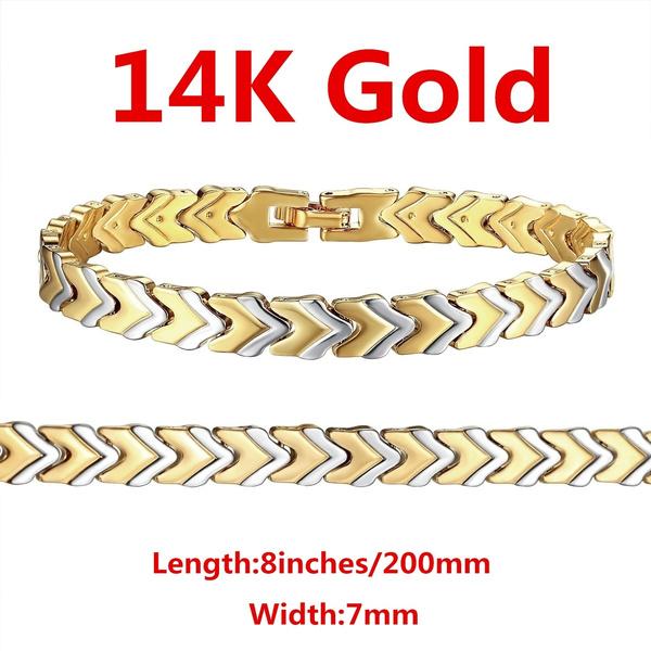 Top Qualité 24K plaqué or 8 mm Sweet Heart Lady chaîne Bracelet 7.6 in GJH083 environ 19.30 cm