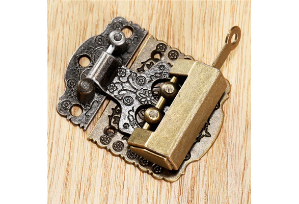 Beiswe Vintage Zinc Alloy Hasp Antique Bronze Wooden Box Lock Latch Hasp Buckle for Home Decoration Hardware