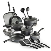 Bella 14784-SN 12 Piece Non Stick Cookware Set with Pots and Pans Gray Speckle