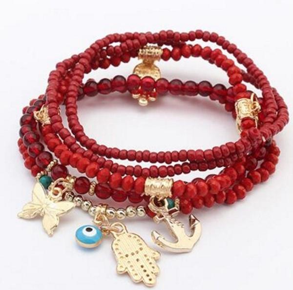 Charm Bracelet, Crystal Bracelet, eye, multi-layer bracelet