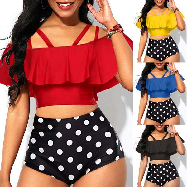 Plus Size, bikini set, Beach, polka dot