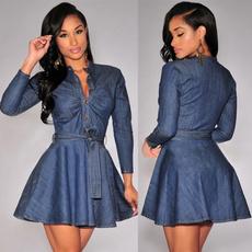 Deep V-Neck, denim dress, Jeans Dress, dresswithbelt