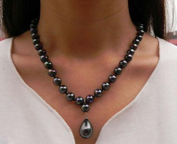 necklace18, black, Jewelry, 8MM