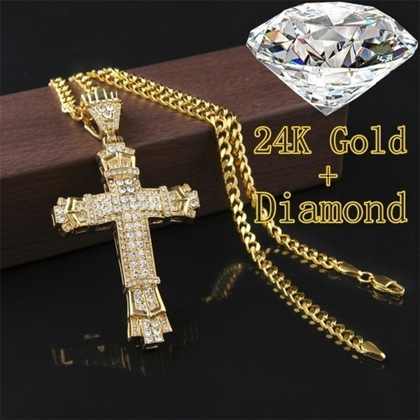 24kgold, Punk jewelry, DIAMOND, Cross necklace