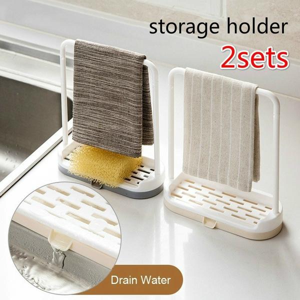 Hanger Drainer Dish Cloths Sponge Holder Drain Rack Storage Rack Rag Shelf