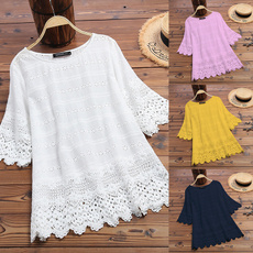 Summer, Lace, Women Blouse, Spring