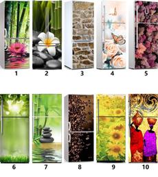 Refrigerator, Coffee, Door, Sunflowers
