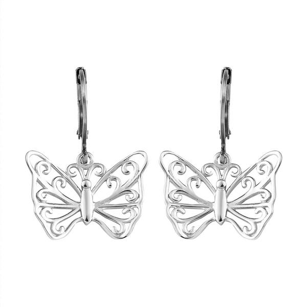 butterfly, platinum, pierce, Silver Earrings