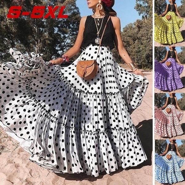 Summer, long skirt, pleated dress, high waist