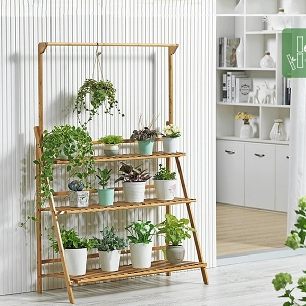 Bamboo 3 Tier Hanging Plant Stand Planter Shelves Flower Pot Organizer Storage Rack Folding Display Shelving Plants Shelf Unit Holder Wish