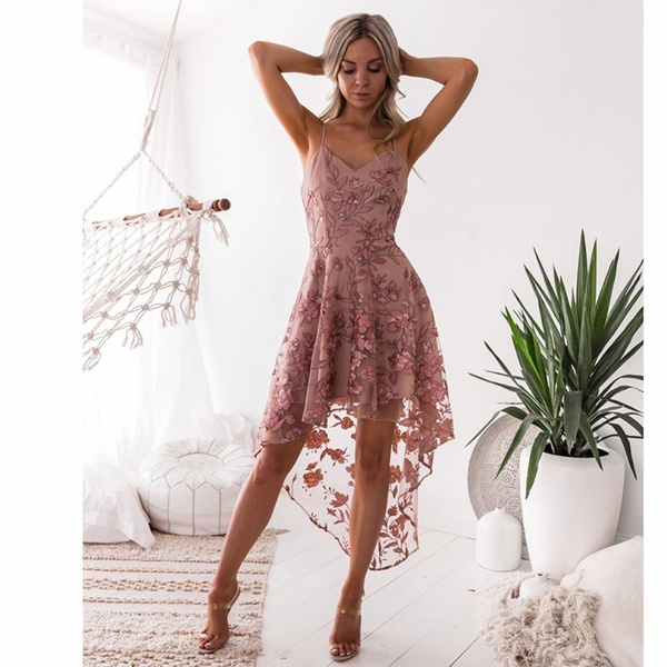 Summer, Lace, Dress, V-neck