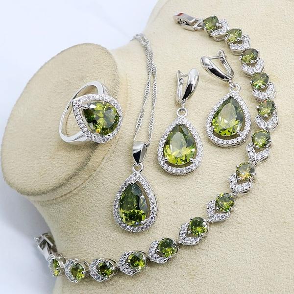 europeanstylecrystalbracelet, classiccrystaljewelryset, Classics, olivegreensemipreciousstone