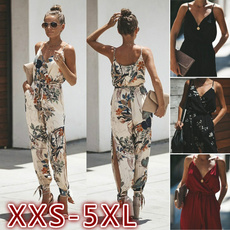 Deep V-Neck, trousers, siamesetrouserjumpsuit, women Jumpsuit