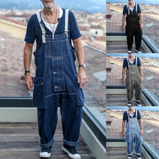overallscasual, Denim, Loose, Overalls