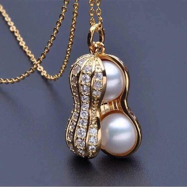 Jewelry, peanutpendantnecklace, gold, peanut
