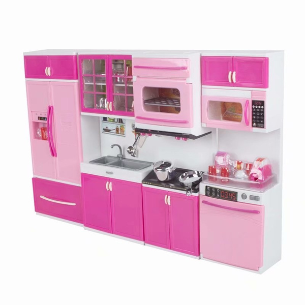 High Quality 4pcs Mini Kitchen Pretend Play Cooking Set Cabinet Stove Toy For Kids Baby Children Wish