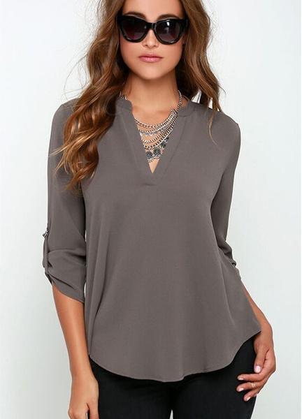 Plus Size, camisasfemininas2016, chiffon, Long Sleeve