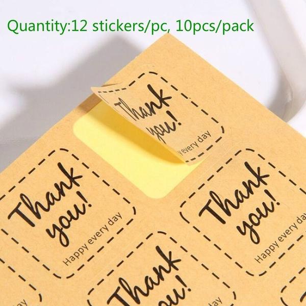 sealingsticker, giftbagsticker, thankyousquaresticker, Home Decor