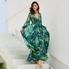 sleeve v-neck, Fashion, Summer, Dress