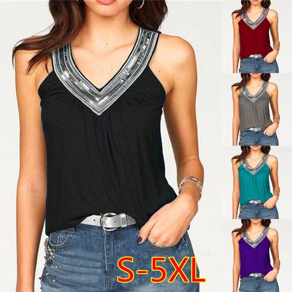 Summer, Vest, Plus Size, Tops & Blouses