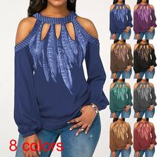 off shoulder top, Plus Size, Floral print, Shirt