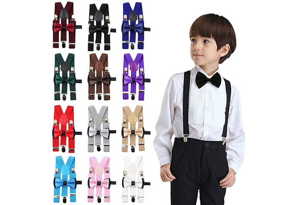 Qujki Colorful Animal Goat Suspenders Bowtie Set-Adjustable Length