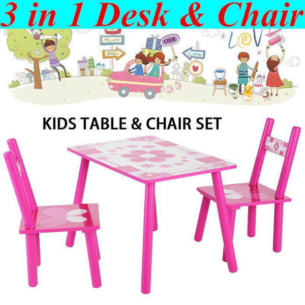 Chair Set Kids Childs Studying Painting, Pink Wooden School Desk