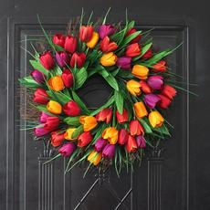 tulipwreath, Door, Home Decor, Garland