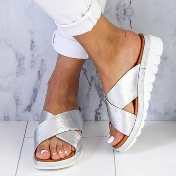 wedge, flatslipper, Platform Shoes, solidcolorshoe