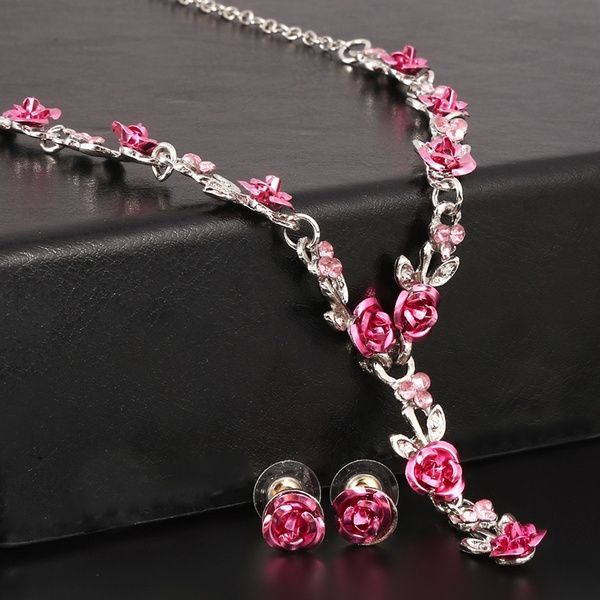 roseearring, Fashion necklaces, Jewelry, Crystal Jewelry