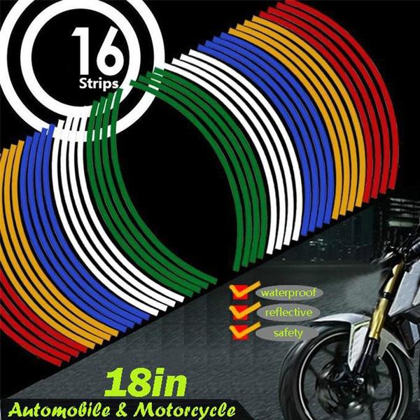 Beennex 16pcs Bike Motorcycle 16-18inch Reflective Wheel Strip Stickers Decoration Accessory Orange