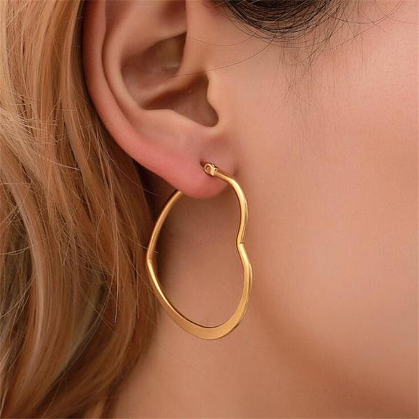 Heart, Hoop Earring, Dangle Earring, Jewelry